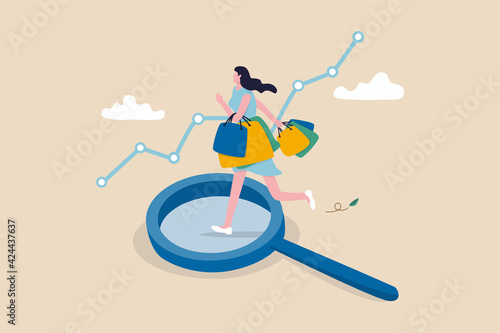 Obraz Customer insight, information from analyze consumer behaviors or journey, optimizing customer experience concept, happy woman consumer holding full of shopping bags on analysis magnifying glass. - fototapety do salonu
