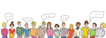 Many People Speaking Banner. Vector Graphic Illustration