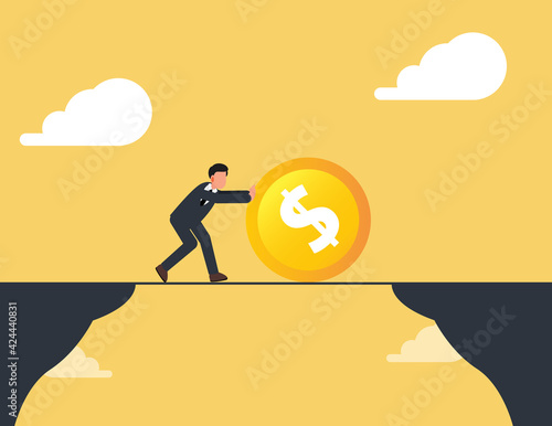 Businessman push coin dollar cross the mountain.business concept challenge and obstacle Wall mural
