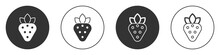 Black Strawberry Icon Isolated On White Background. Circle Button. Vector