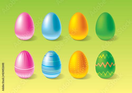 Fototapeta Wesołe wielkanocne pisanki w różne wzory, kolorowe jajka, wielkanocne ozdoby, jajka do kartek wielkanocnych z życzeniami, jajka we wzory wielkanocne, jajka na wielkanoc obraz