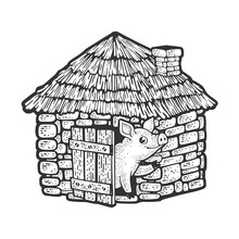 Pig In Brick House Made Of Stone Sketch Engraving Vector Illustration. T-shirt Apparel Print Design. Scratch Board Imitation. Black And White Hand Drawn Image.