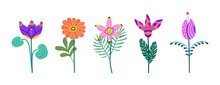 Set Of Flowers Isolated On A White Background. Bright Blooming Flowers For Card,postcard,poster,advertising Design.Collection Of Floral Design. Colorful Botanical Vector Illustration In Cartoon Style.