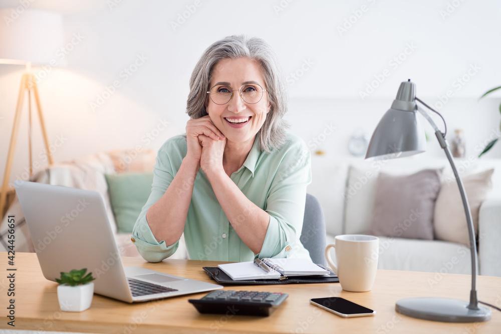 Fototapeta Portrait of pretty friendly person sit behind desktop arms on cheek beaming smile look camera home indoors