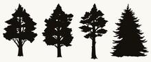 Vintage Trees Black Silhouettes Set