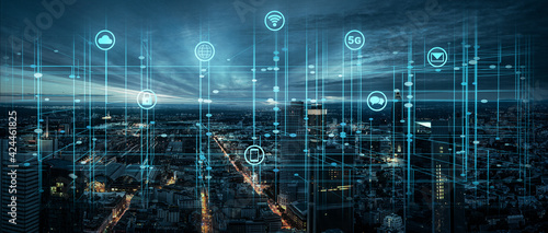 Fototapeta Digitale Infrastruktur in einer Großstadt obraz
