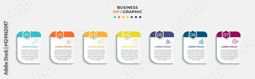 Foto Vector Infographic design business template with icons and 7 options or steps