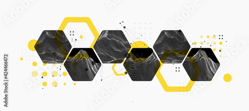 Fototapeta Modern science or technology abstract background using hexagonal shapes. Wireframe spot surface illustration. Vector. obraz