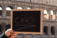 Ciao Word Written In Italian. Greeting In Italian
