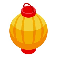 Floating Red Lantern Icon. Isometric Of Floating Red Lantern Vector Icon For Web Design Isolated On White Background