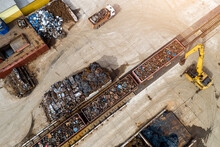 Scrap Metal Recycling Loading Into Containers Top View From The Throne.