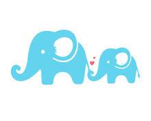 Mother And Son Elephants Walk With Their Trunks And Tails Together. Mother's Day Love Ideas.