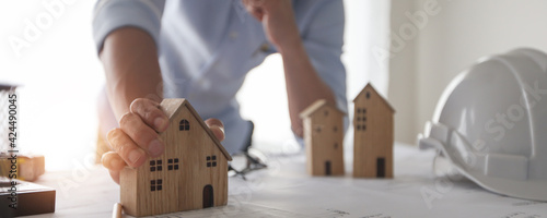 Fotografia Architect creative designer design and plan to construct residential building or