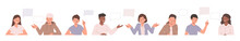Collection Of Illustrations With People And Speech Bubbles. Set Of Drawings With Men And Women Speaking And Discussing Smth. Flat Cartoon Vector Illustration