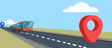 Vector Image. Moving A Bus On An Asphalt Road From One Point To Another Point, Which Are Marked With A Red And Blue Mark. In A Cartoon Style. EPS 10