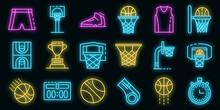 Basketball Equipment Icons Set. Outline Set Of Basketball Equipment Vector Icons Neon Color On Black