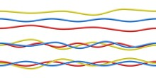 Vector Colorful Realistic Red, Blue, Yellow Electricity Cables. Isolated On White Background.