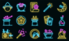 Wizard Tools Icons Set. Outline Set Of Wizard Tools Vector Icons Neon Color On Black