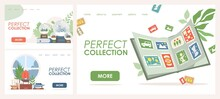 Perfect Collection Vector Flat Landing Page Templates. Stickers Or Cards In Book, Glass Snowballs With City Landscapes And Ships Collections. Hobby Shop, Favorite Pastime, Passion Website Concept.