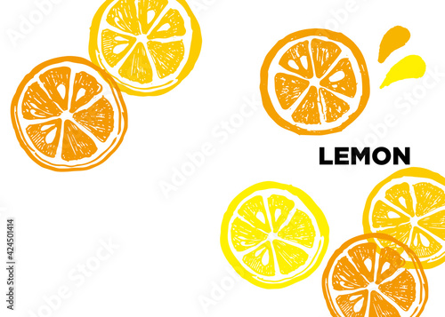 Fototapeta レモンのイラスト。夏にぴったりの爽やかなレモンのイラスト。輪切りのレモン。 obraz
