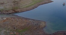 Aerial Drone View Flying Over An Empty Lake Shasta During A Drought In