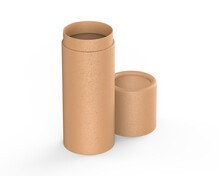 Brown Kraft Paper Tube Push Up Tin Can Mockup Template On Isolated White Background, Ready For Design Presentation, 3d Illustration