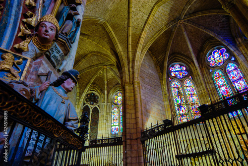 Inside Gothic Cathedral of Leon, Castilla Leon, Spain