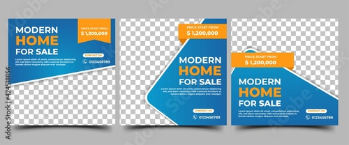 Fototapeta Home sale promotion social media post template. Promotion banner with blue background and orange accent color and with place for the photo. Usable for social media, flyers, banners, and website. obraz