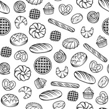 Bakery Vector Seamless Pattern With Engraved Elements. Background Design With Bread, Pastry, Pie, Buns, Sweets, Cupcake.