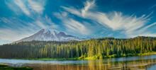 Amazing Sunset Panoramic View Of Mount Rainier In Summer Season, Washington, USA