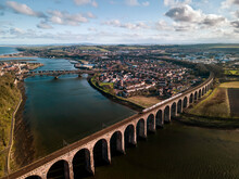 Aerial View Of Stone Arches Of The Railway Viaduct Crossing River Tweed, Berwick-upon-Tweed, Northumberland, England, UK.