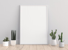 Interior Blank Photo Frame Mock Up With Plant Pot