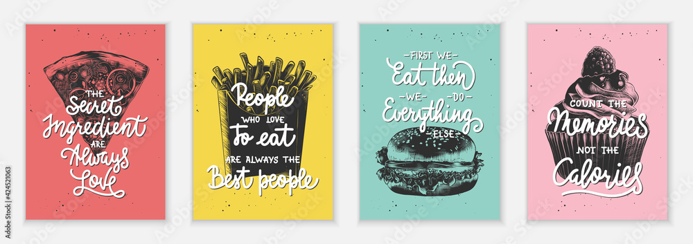 Fototapeta Set of 4 advertising and inspirational fast food and eating lettering posters, decoration, prints, t-shirt design.