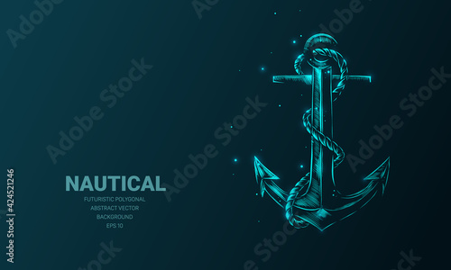 Fotografiet Futuristic illustration with hologram neon nautical anchor sketch, concept glowing icon sign on dark background