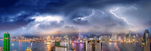 Amazing Night Panoramic View Of Hong Kong Skyline From Kowloon Tower With Storm Approaching