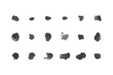 Abstract Black Watercolor Brush Set. You Can Use These Brush Any Design Or Object.
