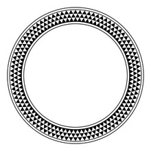 Triangle Checkered Pattern Circle Frame. Round Border With Serrated Pattern, Consisting Of Three Rows Of Black And White Alternating Triangles, Framed With Lines. Illustration Over White. Vector.