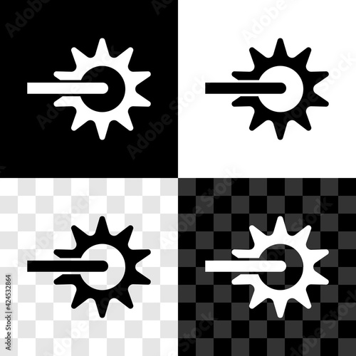 Set Cowboy horse riding spur for boot icon isolated on black and white, transparent background Poster Mural XXL