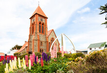 Christ Church Cathedral. Port Stanley, Falkland Islands.  Decorated With Whale Bone Arch. Southern Most Anglican Cathedral In The World.