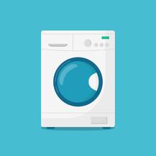 Washing Machine Isolated On Blue Background. Vector Illustration