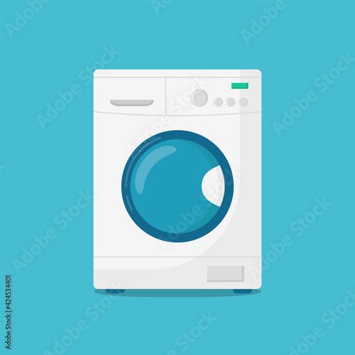 Fototapeta Washing machine isolated on blue background. Vector illustration obraz