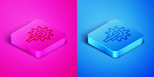 Isometric Line Cowboy Horse Riding Spur For Boot Icon Isolated On Pink And Blue Background. Square Button. Vector