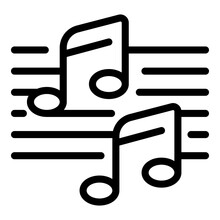 Ballet Music Notes Icon. Outline Ballet Music Notes Vector Icon For Web Design Isolated On White Background