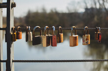 Lovers' Padlocks On The Bridge