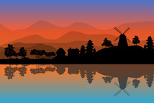 Landscape With Windmill, Houses And Trees At Sunset On Hills Backdrop. Village Scenery With Reflection In The Water. Countryside Panorama On The Coast On Evening In Summer. Stock Vector Illustration