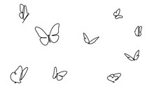 Butterfly Continuous Line Drawing Elements Set Isolated On White Background For Logo Or Decorative Element. Vector Illustration Of Various Insect Forms In Trendy Outline Style.