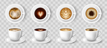 White Cups Of Coffee. Espresso Latte And Cappuccino Hot Beverages, 3D Mockup Front And Top Views.