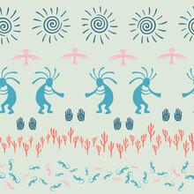 Aborigine, Design With Gecko, Kokopelli Fertility God, Sun, Bird, Cacti.