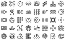 Block Chain Icons Set. Outline Set Of Block Chain Vector Icons For Web Design Isolated On White Background