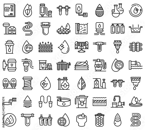 Equipment for water purification icons set. Outline set of equipment for water purification vector icons for web design isolated on white background